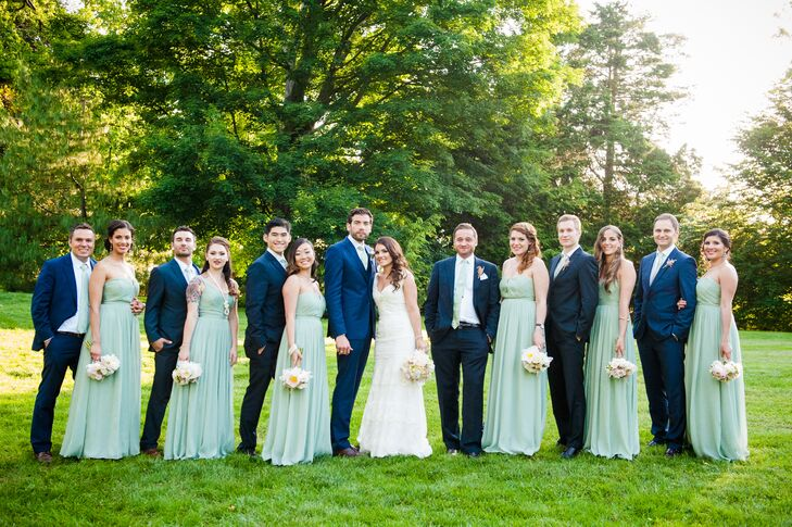 navy and mint green wedding party