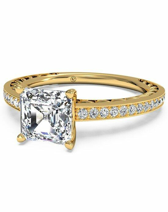 Ritani Asscher Cut Lattice Micropave Diamond Band Engagement Ring in 18kt Yellow Gold (0.11 CTW) Engagement Ring photo