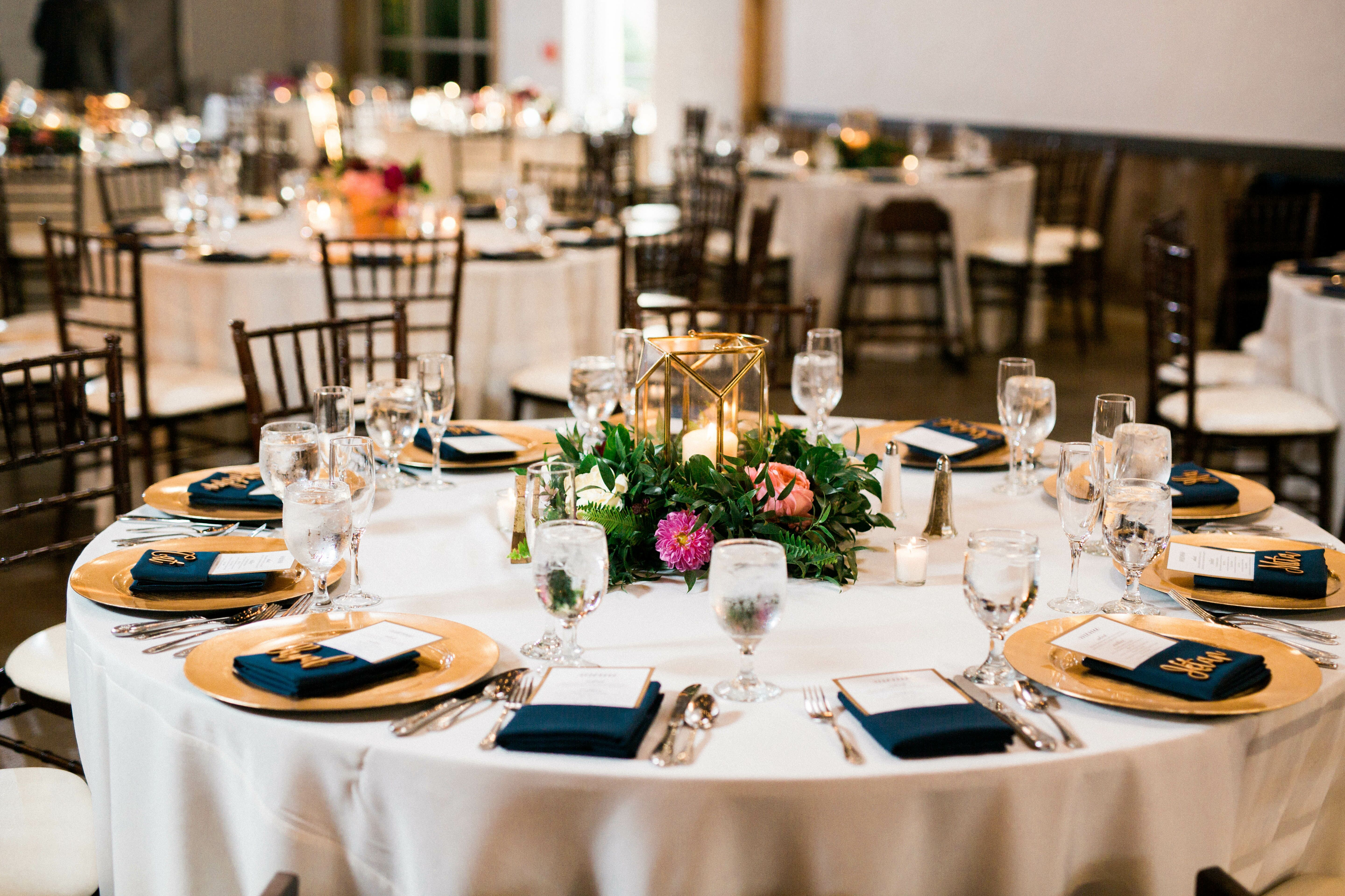 Tablescape With Geometric Terrariums And Metallic Accents