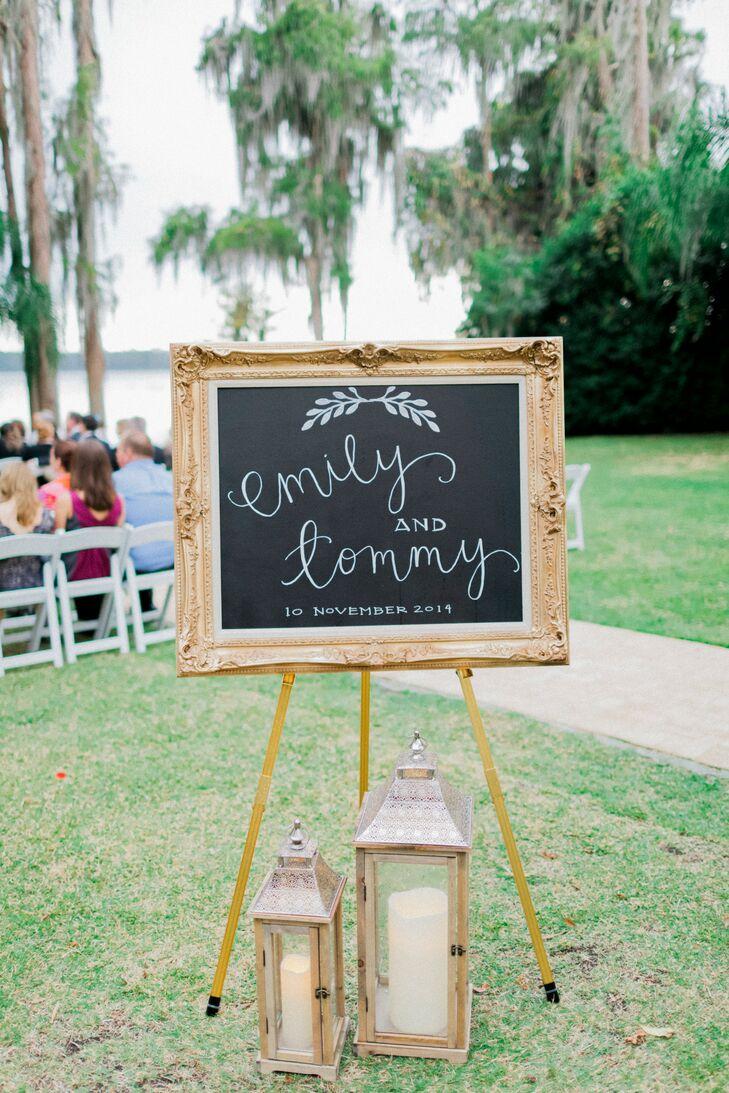 DIY Chalkboard Ceremony Sign in Vintage Frame