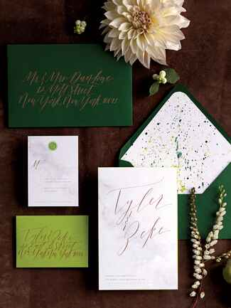 Katie Fischer dark green wedding invites
