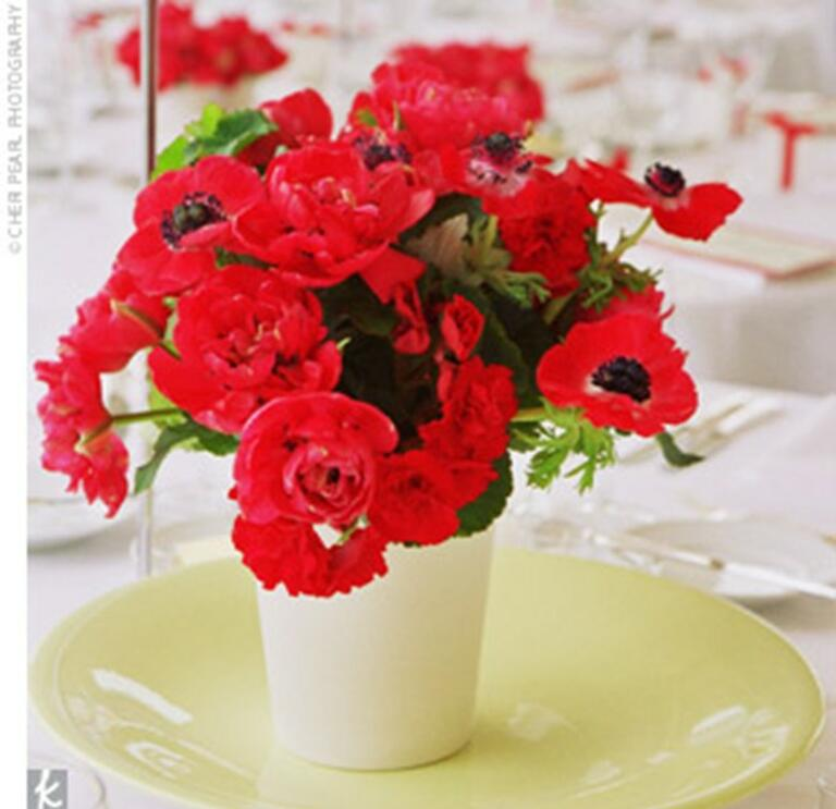 Anemone wedding centerpieces