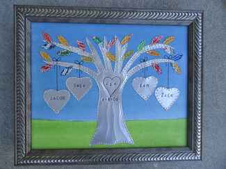 Engraved aluminum family tree 10 year anniversary gift