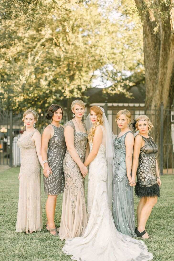 Art Deco Sparkly Neutral Bridesmaid Dresses