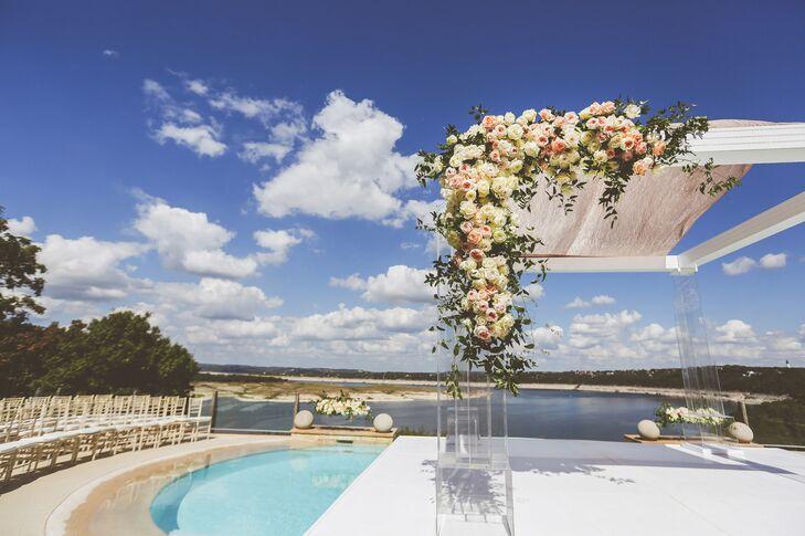 Platform over pool wedding ceremony in austin texas for Wedding dress rental austin tx