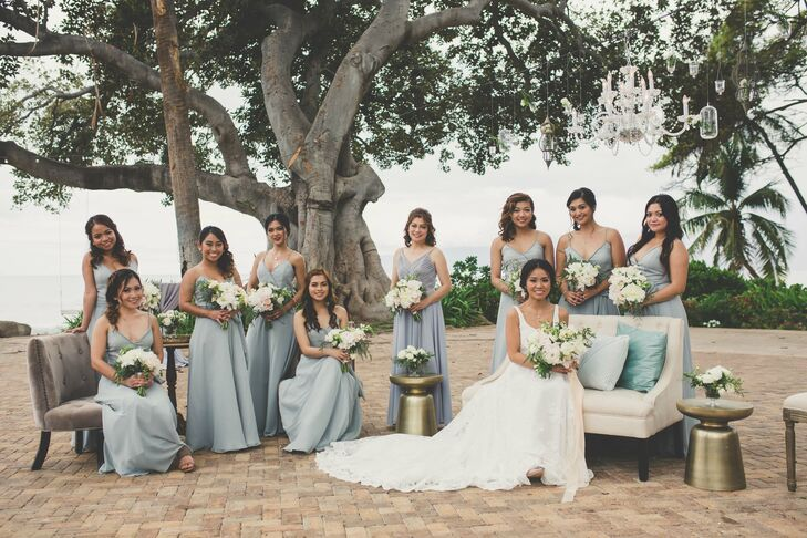 Pale-Blue A-Line Bridesmaid Dresses