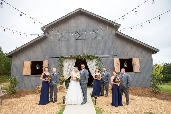 The bridesmaids wore long chiffon Alfred Angelo dresses with different necklines and hairstyles. The best part: They picked the dresses themselves! Taking the Mississippi heat into account, the groomsmen were dressed in light gray suits and navy ties.