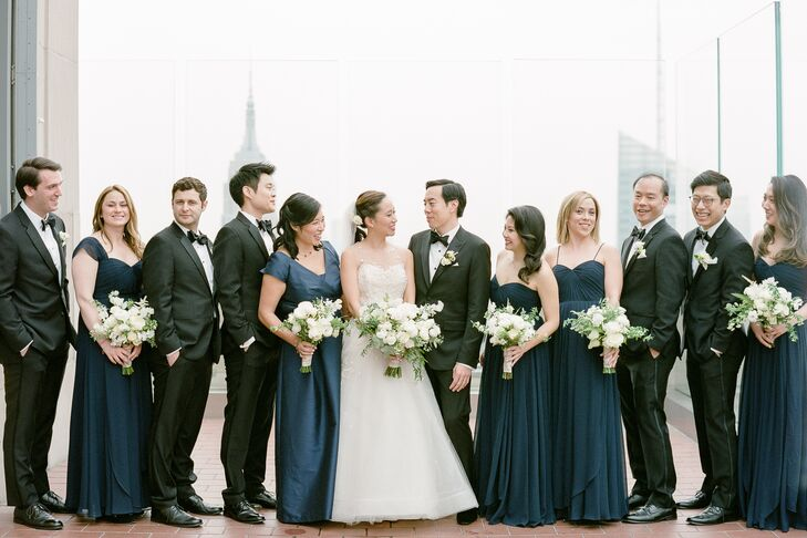 Classic Wedding Party in Navy and Black at The Rainbow Room