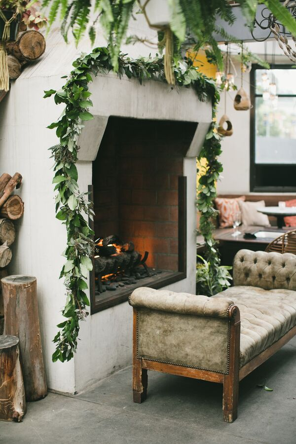 Garland-Framed Fireplace
