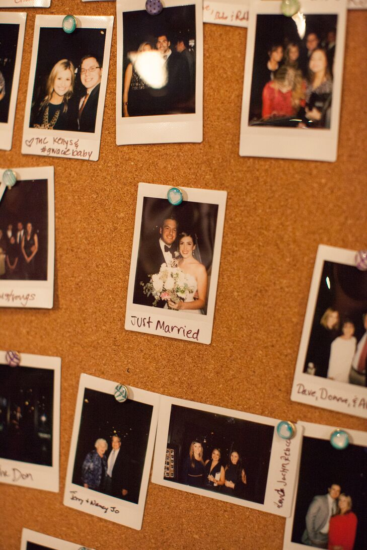 Instead of a guestbook, a cork board with a polroid camera was on display for guests to snap pictures and leave notes.