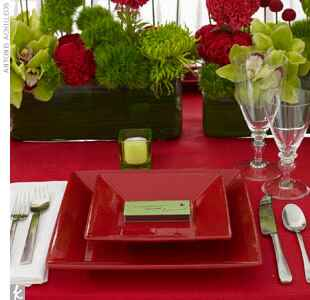 red and green wedding table setting