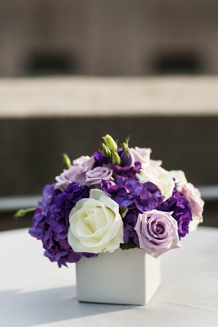 Purple Floral Arrangement Centerpiece : Purple and white centerpieces