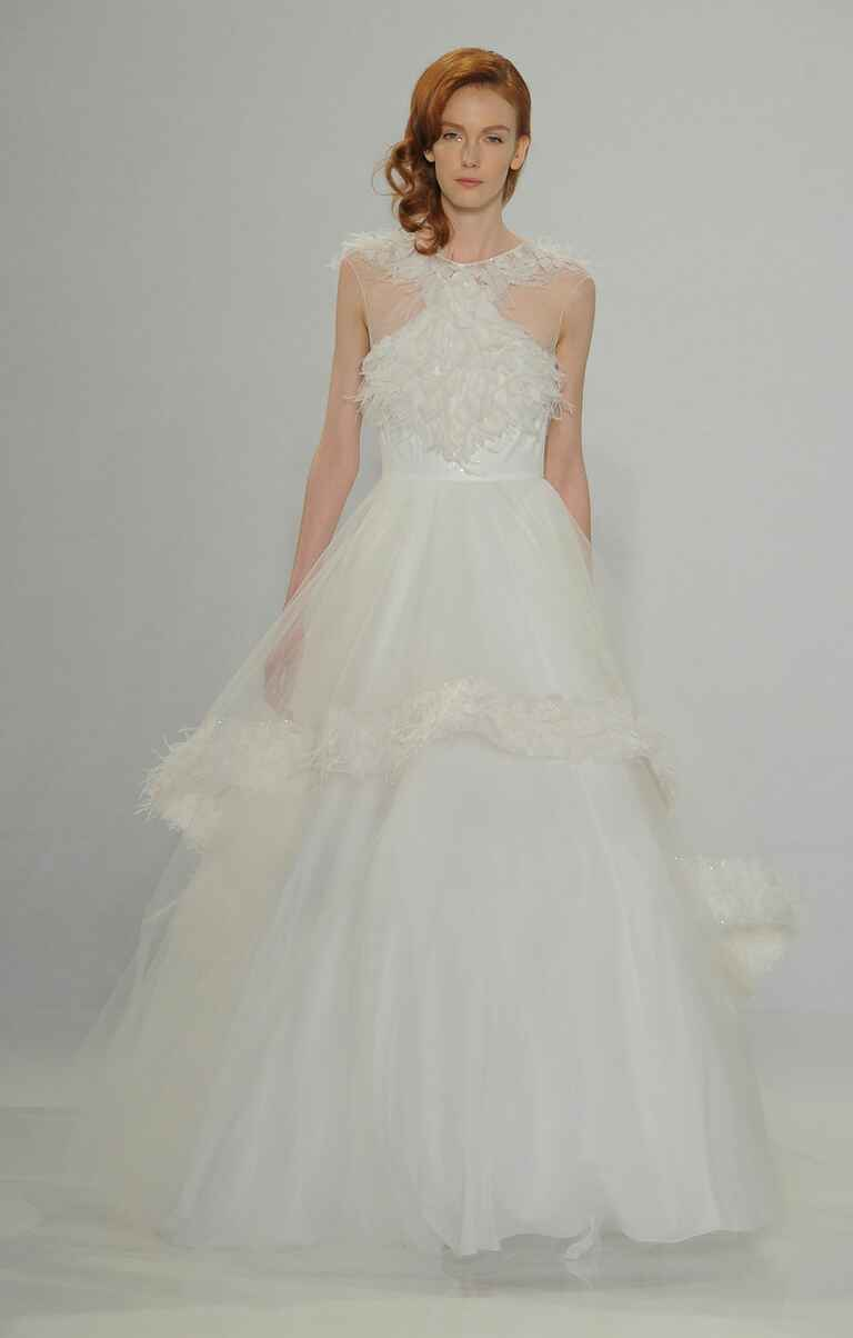Christian Siriano Spring 2017 feather appliqué ball gown wedding dress