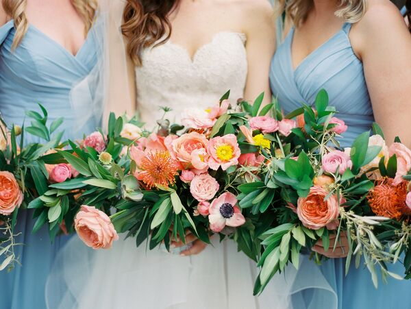 Playful Pink Rose and Pincushion Flower Bouquets