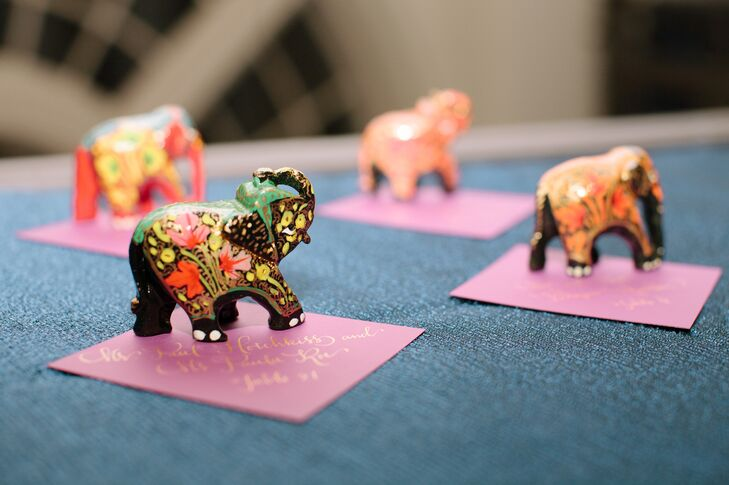 To carry Indian culture into the evening events, Naina and Scott gave each guest a hand-painted elephant memento with their escort card. The elephants represent perfect wisdom and pure hearts.