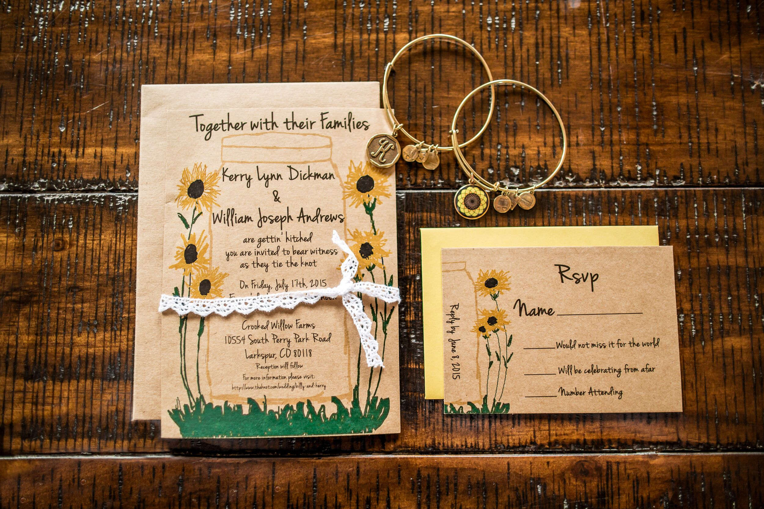 Sunflower adorned brown paper wedding invitations monicamarmolfo Image collections