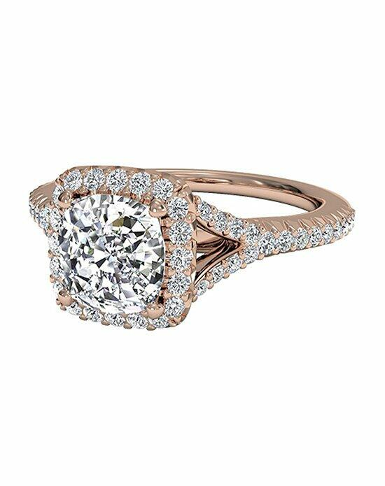 Ritani Cushion Cut French-Set Halo Diamond 'V' Band Engagement Ring in 18kt Rose Gold (0.23 CTW) Engagement Ring photo