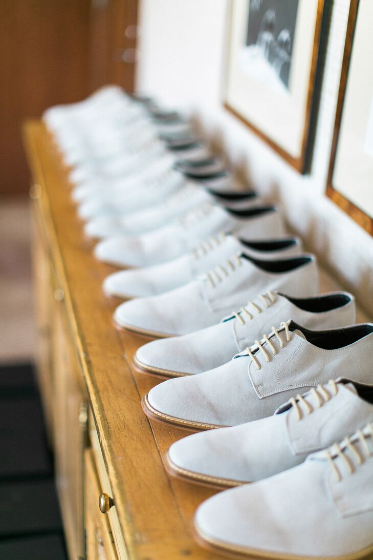 Whites, neutrals and blushes were everywhere, including on the brushed grey suede shoes that each groomsman wore for the ceremony.