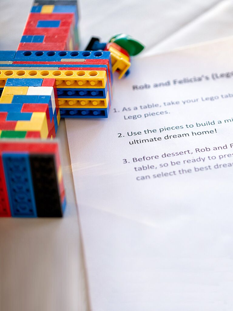 Fun children's activity for a wedding reception, building a lego dream house