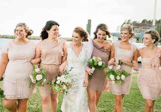 Neutral Mismatched Bridesmaid Dresses |<img class=
