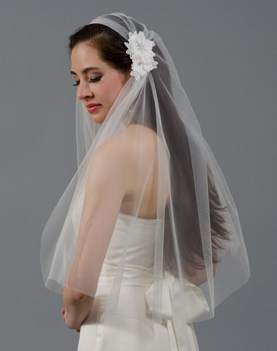 Tulip Bridal Ivory Juliet Cap Wedding Veil with Venice Lace Flowers Wedding Veils photo
