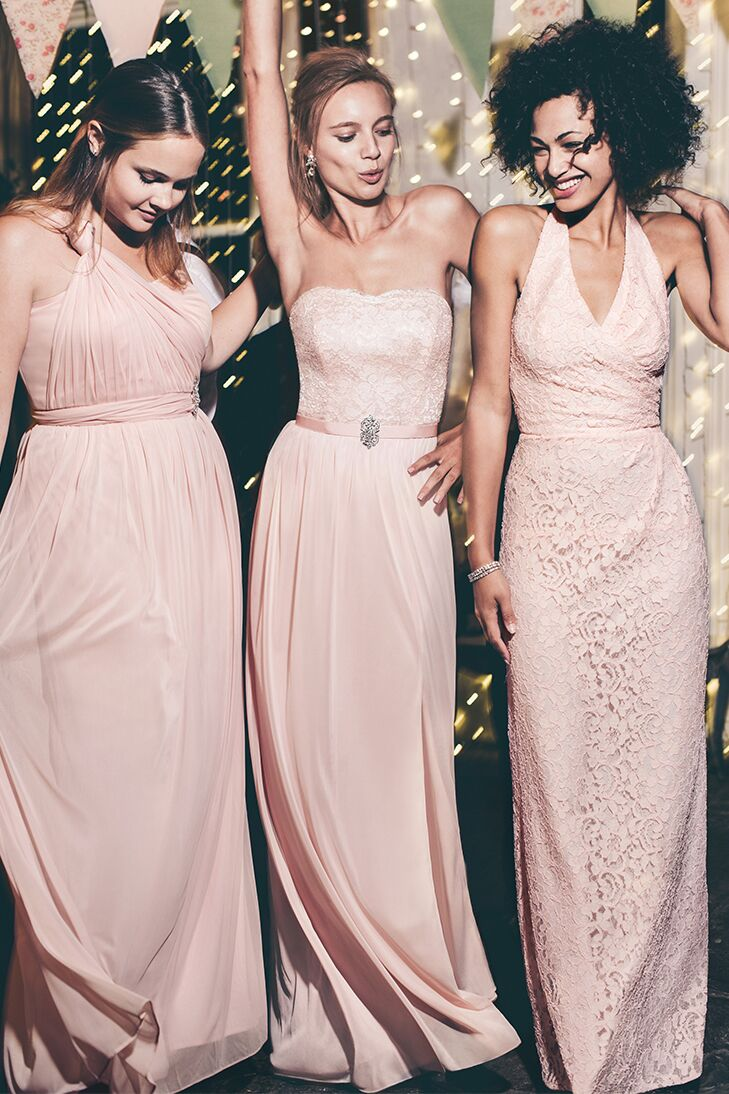 Mismatched bridesmaid dress combos same color different style three models in peach colored bridemaids dresses ombrellifo Images