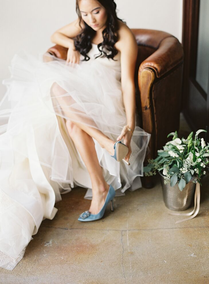 Blue Hangisi by Manolo Blahnik Wedding Shoes