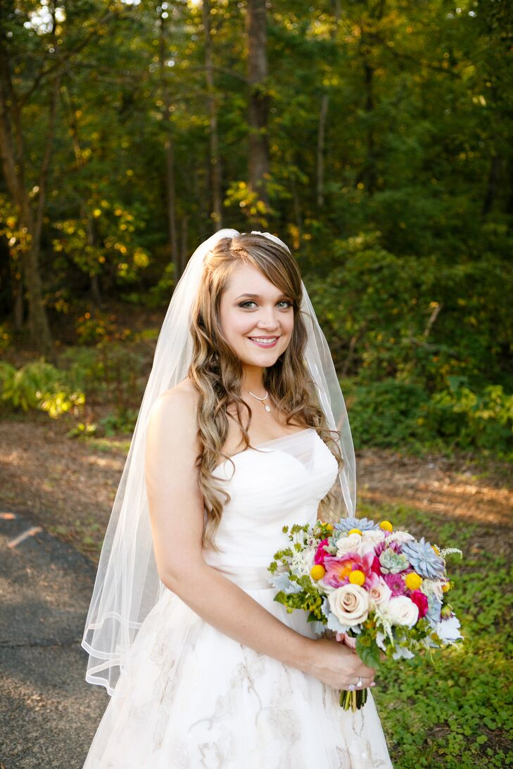 Bride In A Oleg Cassini Ball Gown