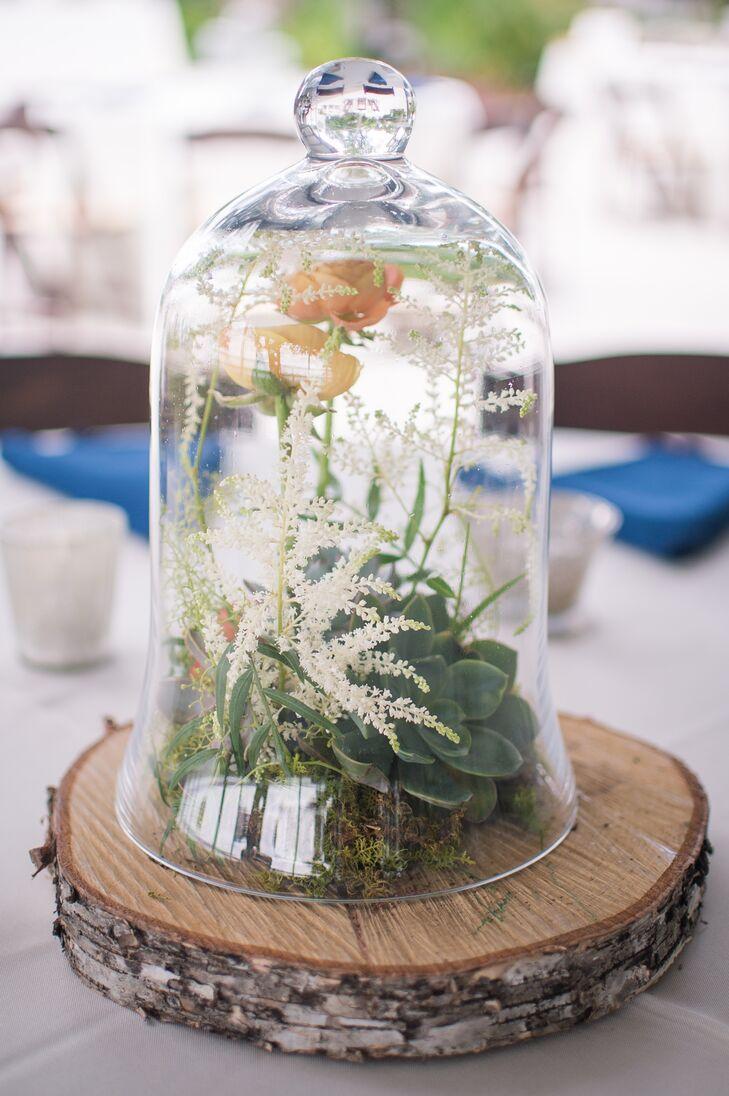Rustic bell jar terrarium centerpieces