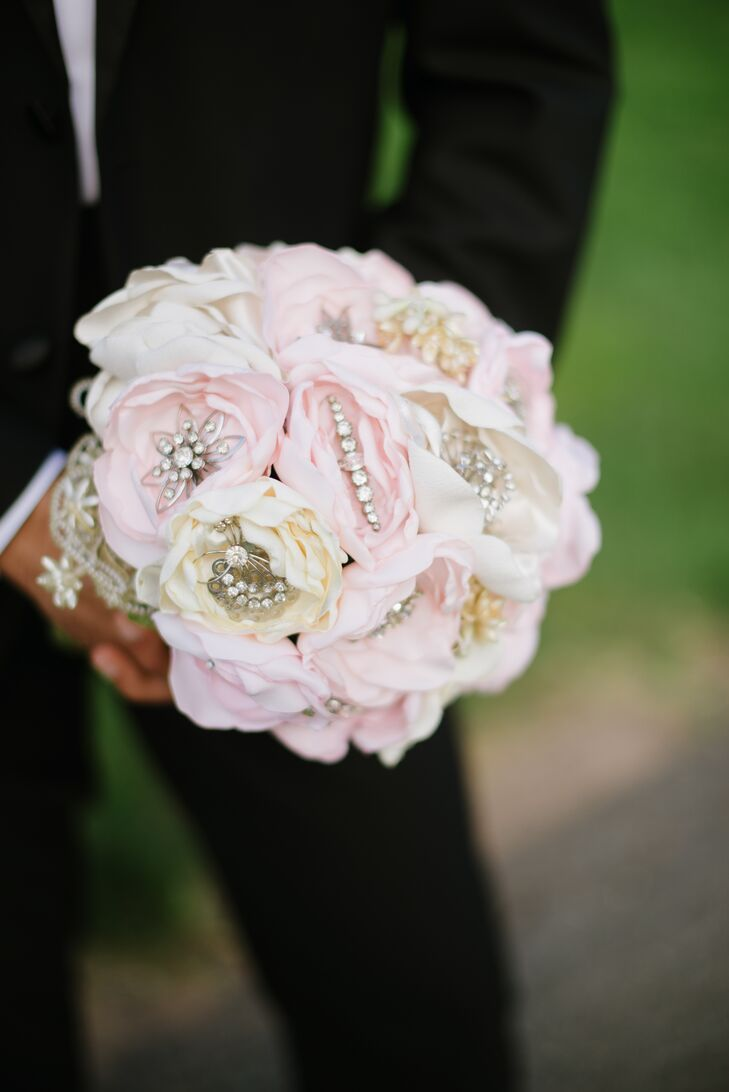 A Diy Blush Pink Fabric Flower Bouquet With Rhinestone Brooches