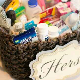 Wicker Basket Filled With Bathroom Amenities for Women at Wedding