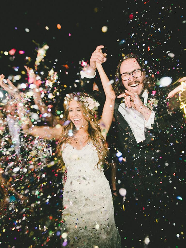 Colorful confetti wedding ceremony exit toss