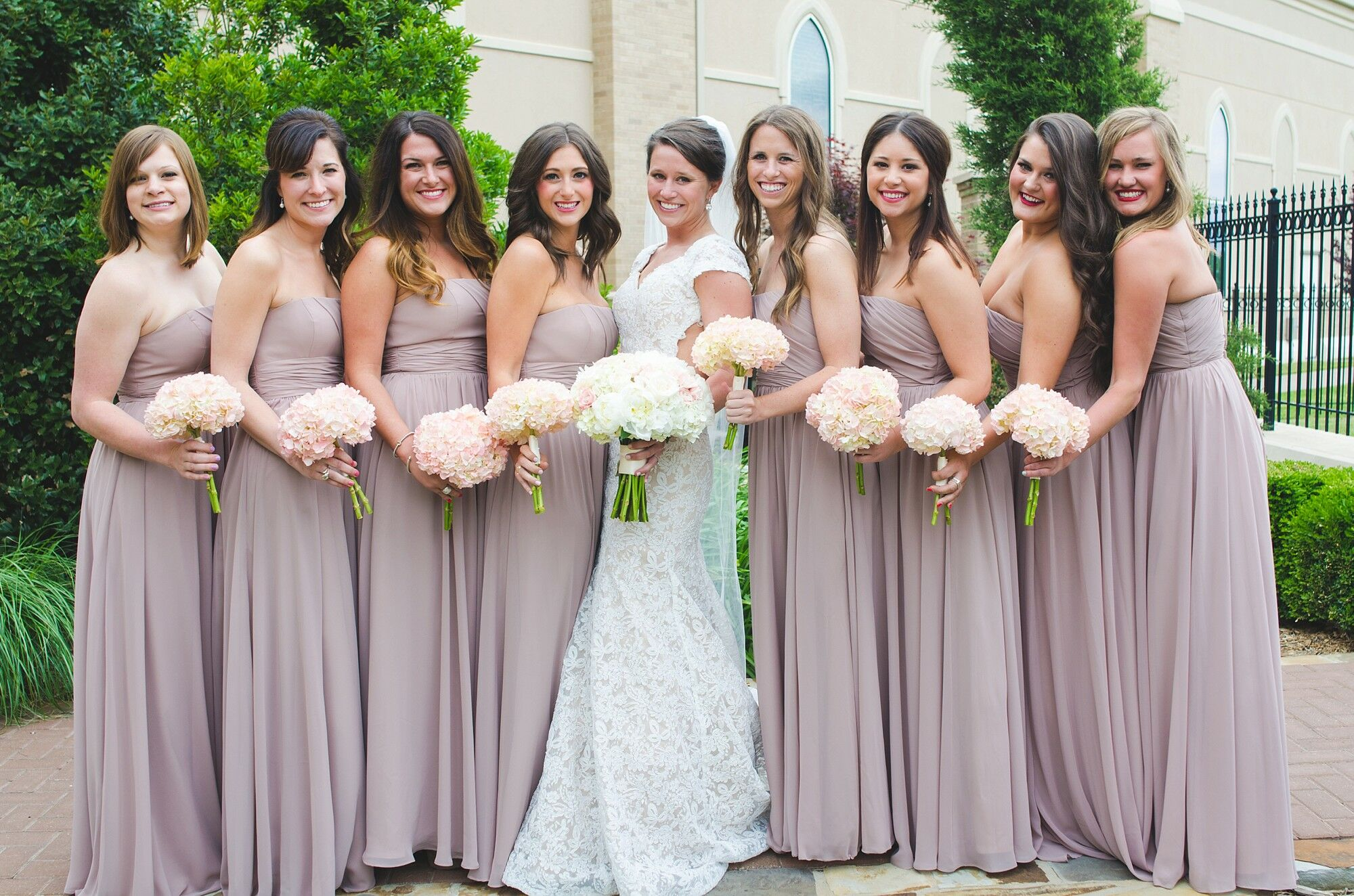 Neutral Pink Bridesmaids Dresses With Blush Bouquets