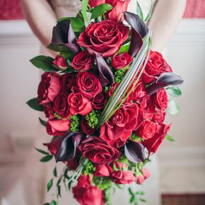 black calla lily red rose bouquet