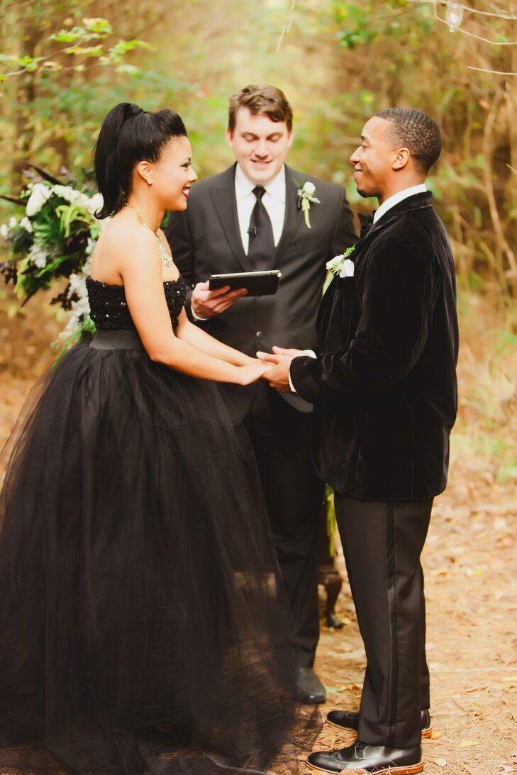 With nature as their witness, Candice and Bradley exchanged vows on a cloistered path in the woods.