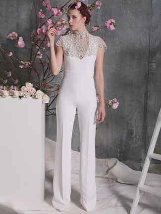 white jumpsuit with detachable crystal caplet