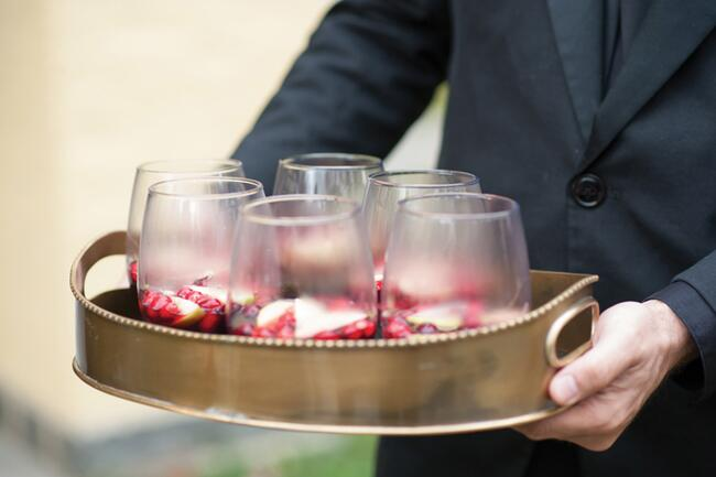 Glasses of Sangria served on a tray