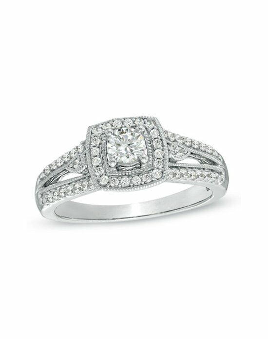 Zales 1/2 CT. T.W. Diamond Vintage-Style Engagement Ring in 10K White Gold  19710789 Engagement Ring photo