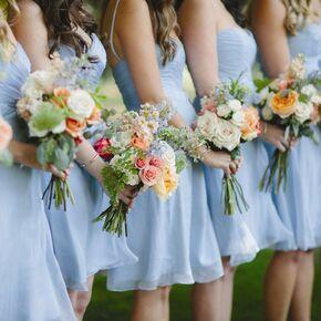 Blue wedding bouquets blue bridesmaid dresses junglespirit Choice Image