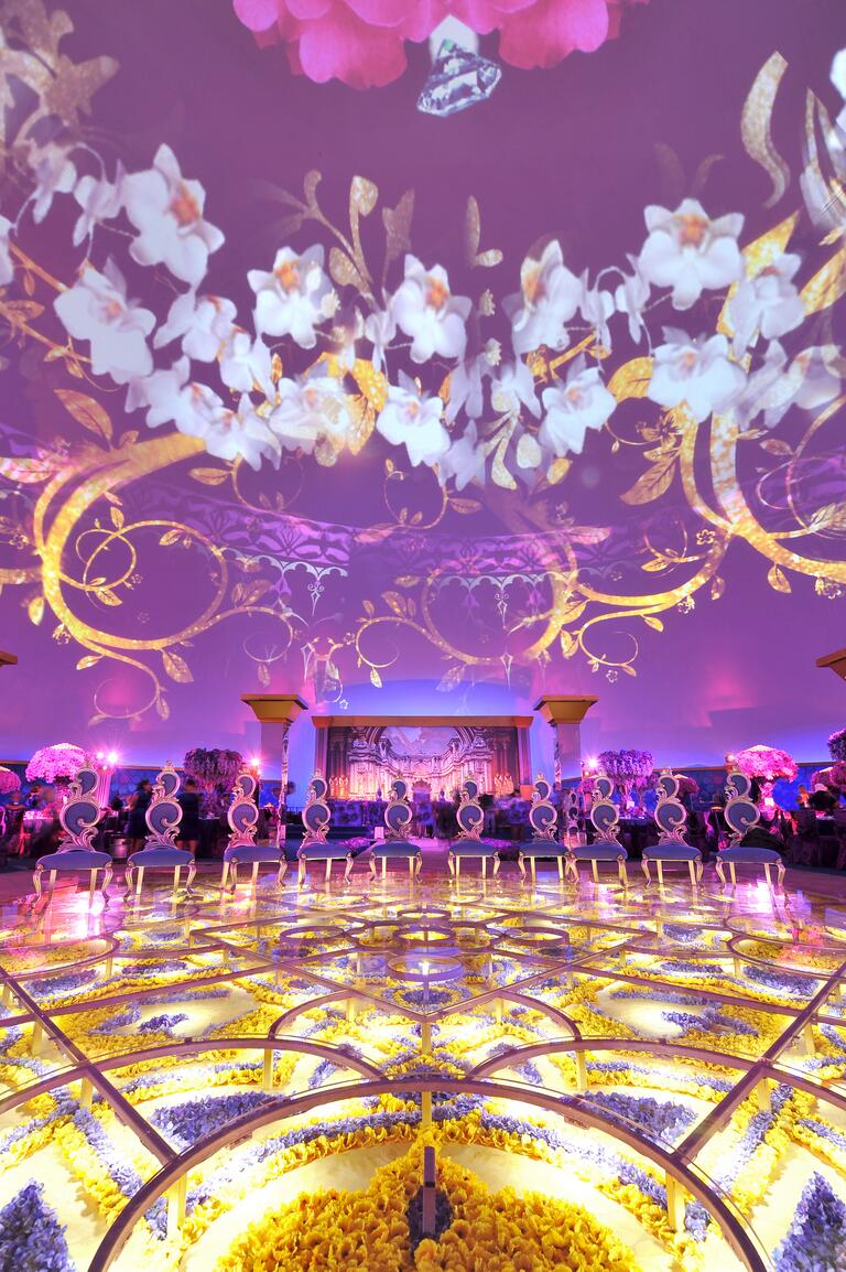 flower-filled wedding reception dance floor
