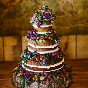 Homemade Naked Wedding Cake With Wood Cake Stand