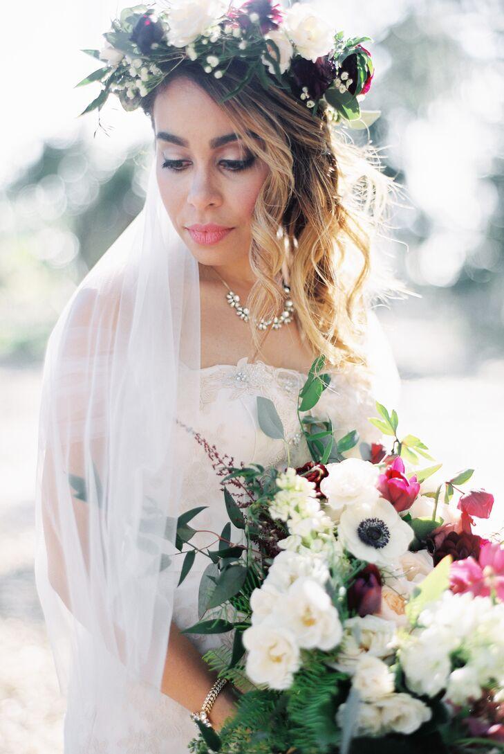 Blush wedding gown and boho flower crown izmirmasajfo