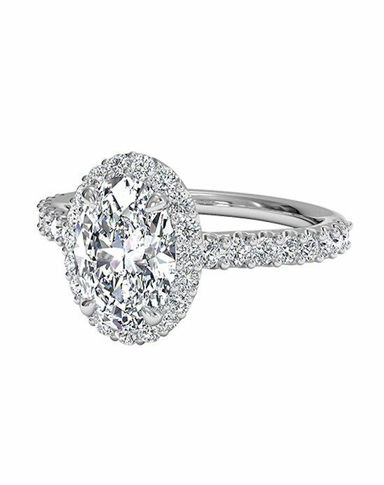 Ritani Oval Cut French-Set Halo Diamond Band Engagement Ring in Platinum Engagement Ring photo