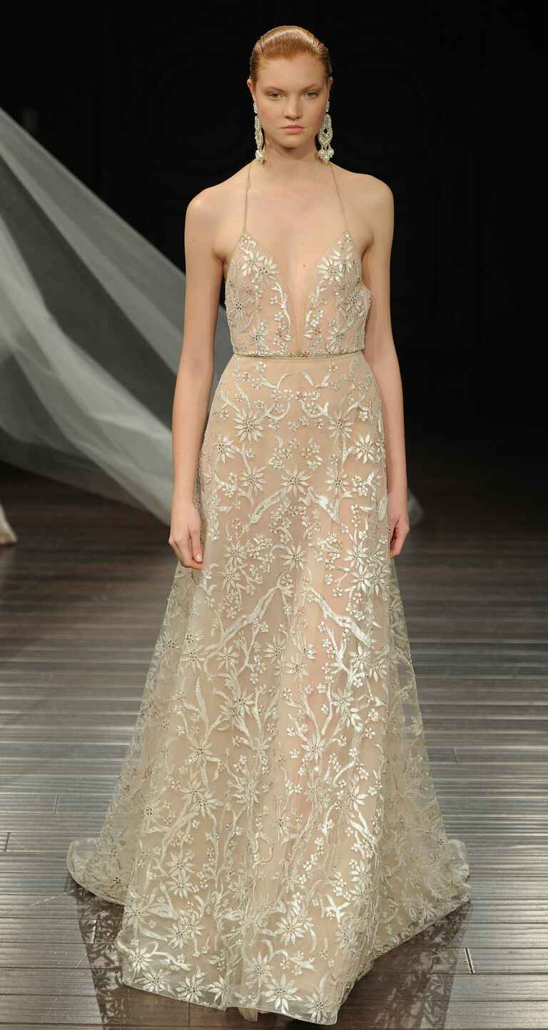 Naeem khan spring 2017 collection bridal fashion week photos for Wedding dresses for small breasts