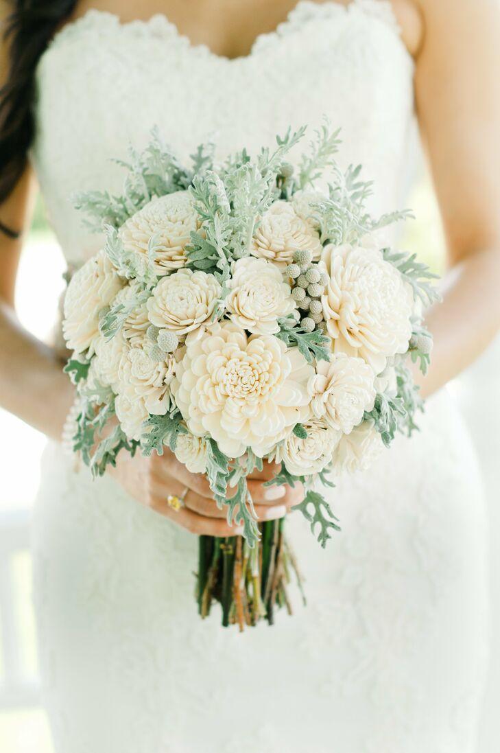 White Wood Flower Bridal Bouquet