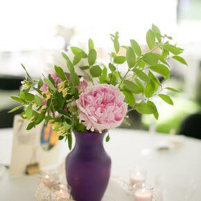 Diy purple wedding decorations accents pink peony centerpieces in plum vase junglespirit Choice Image