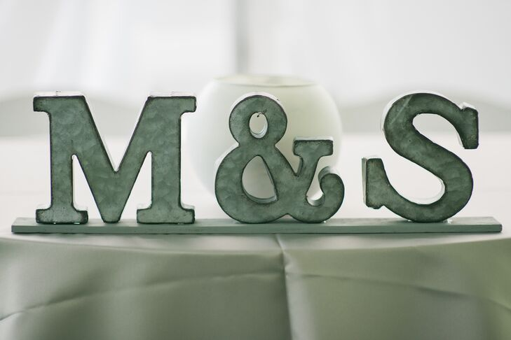 Simple Olive Monogram Sweetheart Table Accent
