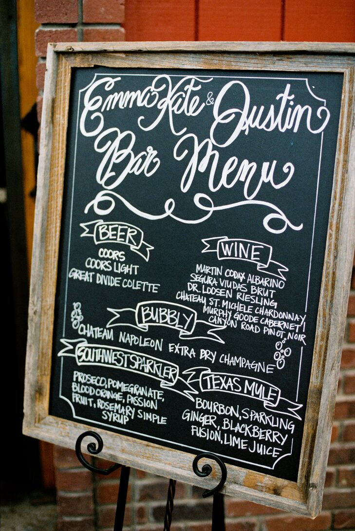 Rustic Chalkboard Cocktail Menu