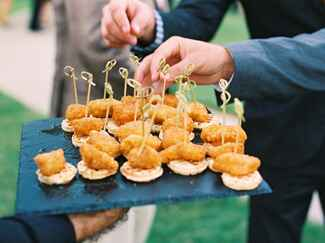 Mini chicken and waffles wedding catering