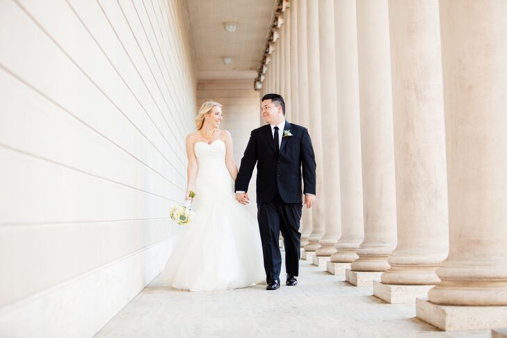 "The historically rich Legion of Honor museum in San Francisco, California, set the classic tone for this formal wedding. ""We wanted personal touches t"
